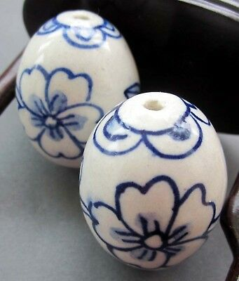 2Pcs Hand Painted Flower Ceramics Porcelain Bead Finding--36mm*27mm