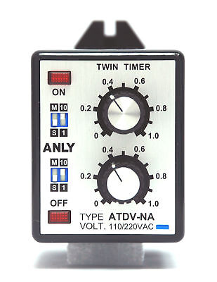 1pc Industrial Twin Timer ATDV-NA 1S 10S 1M 10M AC110/220V ANLY Taiwan