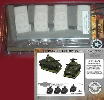 Forged in Battle A-22 15mm WWII US Sherman M4A3 Dry 75mm (4) Tank Miniatures