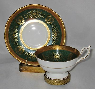 Coalport LADY ANNE, GREEN, Gold Encrusted, Cup & Saucer Set