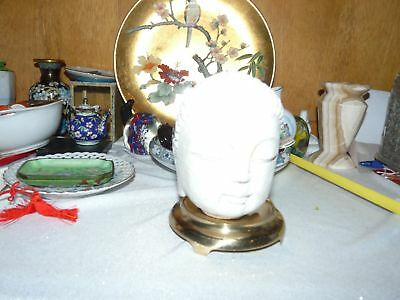 Carved White Marble Asian Diety Head Beautiful