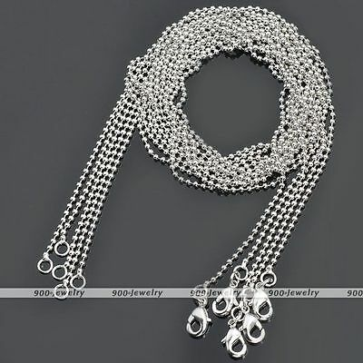 5x Silver Plated Brass Ball Bead Chain Necklace For Pendant Beads Findings 18""