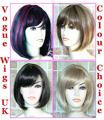 Ladies Bob Style Short Sleek Straight Fashion Wig Black Brown Blonde Full Wig