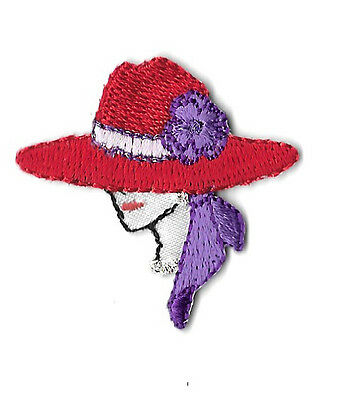 Red Hat Lady - SMALL Embroidered Iron On Applique Patch - Left