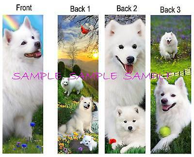 3 Set-AMERICAN ESKIMO Spitz BOOKMARK White DOG Samoyed Book Card ART figurine