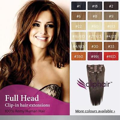 Full Head Clip in Remy Human Hair Extensions, BROWN, BLONDE, BLACK , OMBRE, MIX