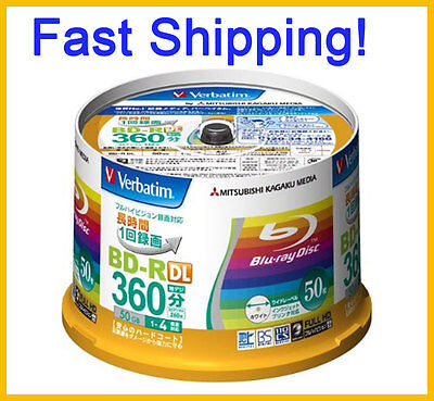 50 Verbatim Bluray Disc 50GB BD-R 4x Speed Inkjet Printable ORIGINAL SPINDLE