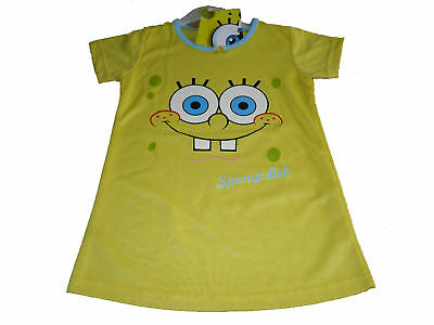 Girls Nightie/Pyjamas Spongebob Age 2-8 Yrs Yellow Bnwt