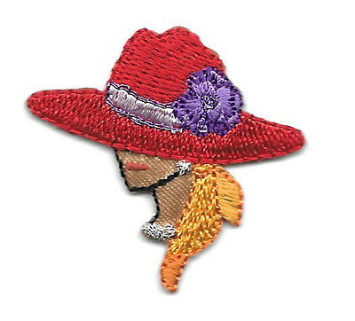 SMALL Red Hat Lady - Left - Dark Complexion - Iron On Applique Patch