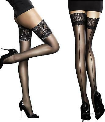 Fiore Sensuous Sheer Lace Top Hold ups stockings New Size Small Medium  Large