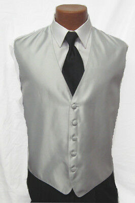 Mens Silver Gray Solid Fusion Fullback Vest Wedding Prom Choose Your Size