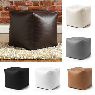 Faux Leather Bean Bag Cube Footstool - Beanbag Pouffe Seat / Foot Stool