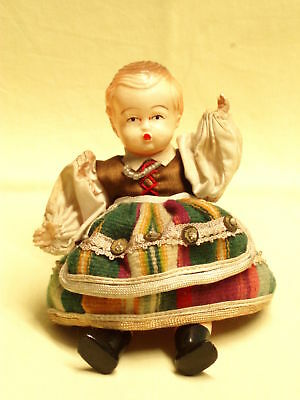 vintage small Celluloid girl doll dress rare