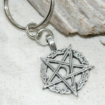 PENTAGRAM INVERTED MOON Pewter KEYCHAIN Key Chain Ring