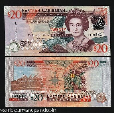 EAST CARIBBEAN STATES $20 P49 2008 QUEEN BUTTERFLY SHIP UNC GB UK BANK NOTE