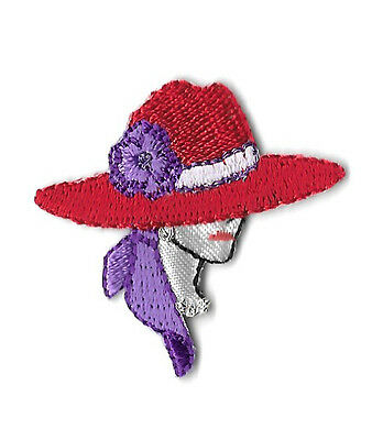 Red Hat Lady - SMALL Embroidered Iron On Applique Patch - Right