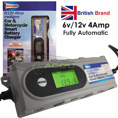 SW 6v 12v Car Van Motorbike 4A Digital Electronic Smart Battery Charger SWIBC1