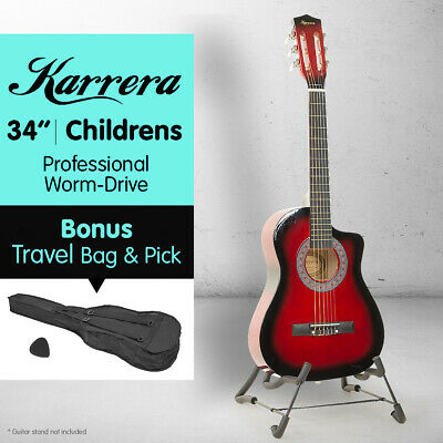 New Red Childrens Acoustic Guitar Ideal Kids Gift