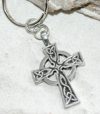 CELTIC CROSS WALES IRISH Pewter KEYCHAIN Key Chain Ring