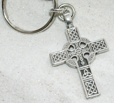 CELTIC CROSS IRISH KNOT Pewter KEYCHAIN Key Chain Ring