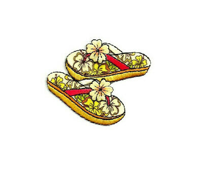 FLIP FLOPS TROPICAL DESIGN EMBROIDERED IRON ON APPLIQUE