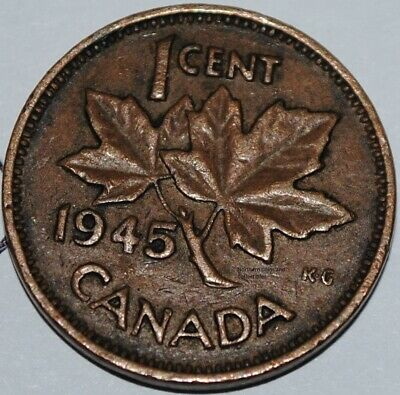 Canada 1945 1 Cent Copper One Canadian Penny Nice Coin