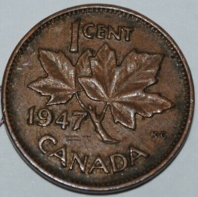 Canada 1947 1 Cent Copper One Canadian Penny Nice Coin
