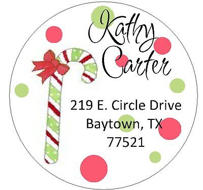 CHRISTMAS CANDY CANE -  Round Return Address Labels