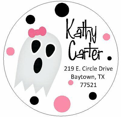 GHOST WITH PINK BOW -  Round Return Address Labels