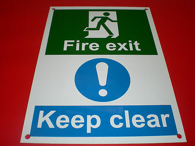 Fire Exit Keep Clear A5 Pre Drilled Plastic Fire Door Sign - Evacuation, Alarm