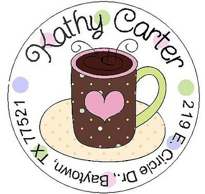 CUP OF COFFEE w/HEART -  Round Return Address Labels