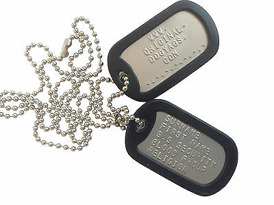 """MILITARY DULL  DOG TAGS Army DogTags  2 x Chains 26"""" & 4.5""""  PERSONALISED FREE !"""