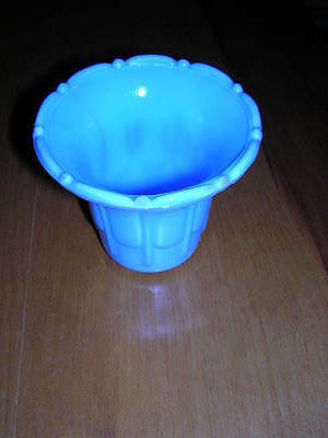 Akro Agate Blue Ribs and Flutes Flower Pot
