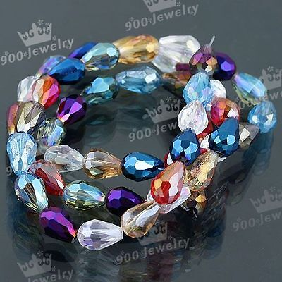 50x Mix Color Faceted Teardrop Crystal Glass Loose Bead