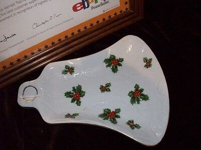 Lefton Vintage Holly Bell Spoon Rest Christmas Holiday