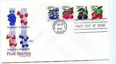 3305a Fruit Berries Coil PNS of 4, Artmaster (MC),  FDC