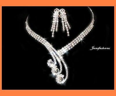 Princess Clear Austrian Crystal Rhinestone Necklace Earrings Set Wedding N55