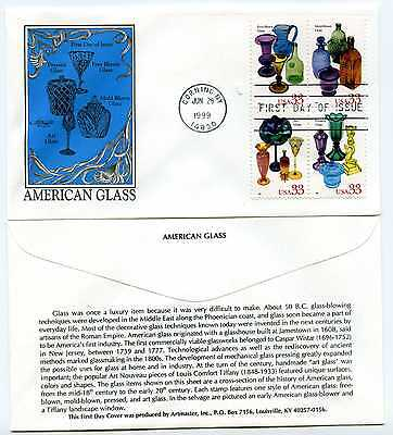 3328a  American Glass, Artmaster, block of 4,  FDC