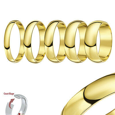 18ct Yellow Gold Wedding Ring Band Solid Heavy Weight Court Comfort Shape Band