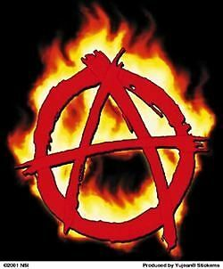 ANARCHY SYMBOL in flames STICKER  **FREE SHIPPING**  -y cd851