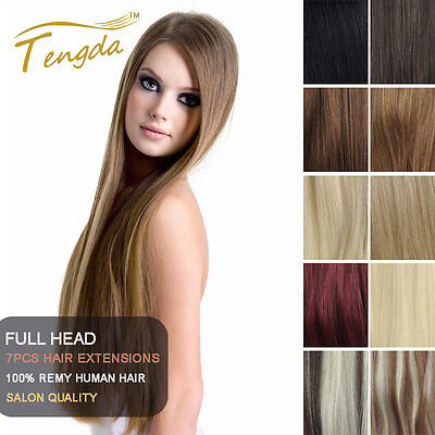"Tengda Clip In Remy 100% Real Human Hair Extensions 15"" 16"" 18"" 20"" 26"" 28"" 30"""
