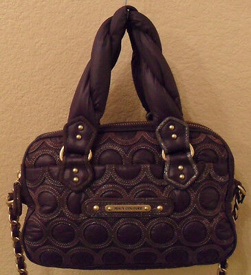JUICY COUTURE Cate Quilted Purple Nylon Leather Crossbody Bag