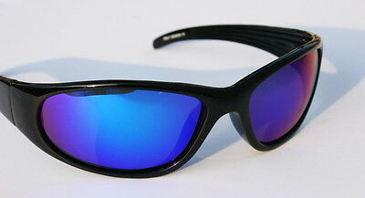6ec5749d15 MEN Black Polarized Sunglasses with Blue Mirror lens Wrap around shades  FISHING