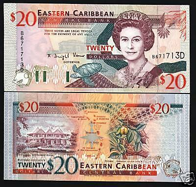 East Caribbean States Dominica $20 P33D 1994 Queen Turtle Ship Unc Bank Note