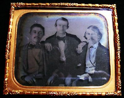 1/6th AMBROTYPE  GROUP OF 3 FRIENDLY MEN GAY?1860s #7541