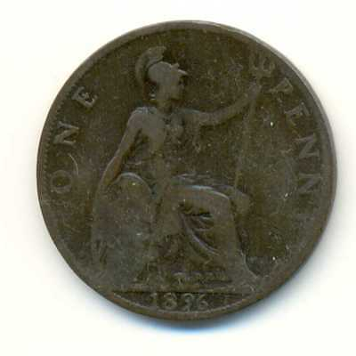 UK Great Britain Bronze 1 Penny 1896 F