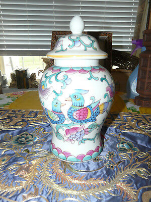 Pretty Chinese Ginger Jar with Bird Decorations