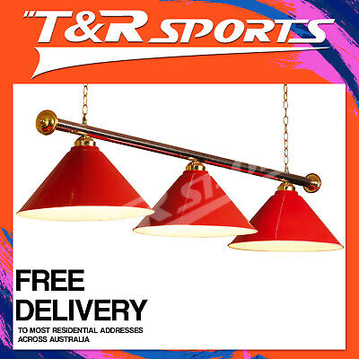 New! Classic Red Metal Pool Billiard Snooker Table Light! Free Delivery