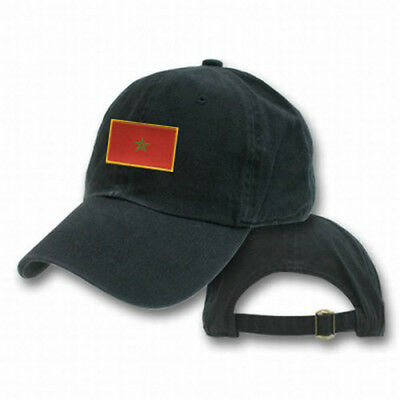 MOROCCO MOROCCAN BLACK FLAG COUNTRY EMBROIDERY EMBROIDED CAP HAT