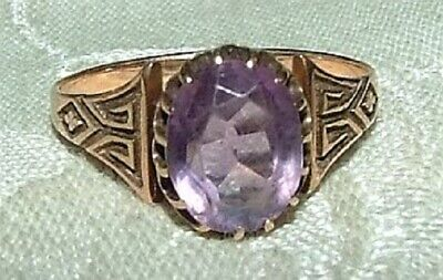 Antique Victorian 10 K Rose Gold Amethyst Ring 1880s Greek Key Size 6